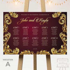 Baroque Theme Wedding Seating Chart