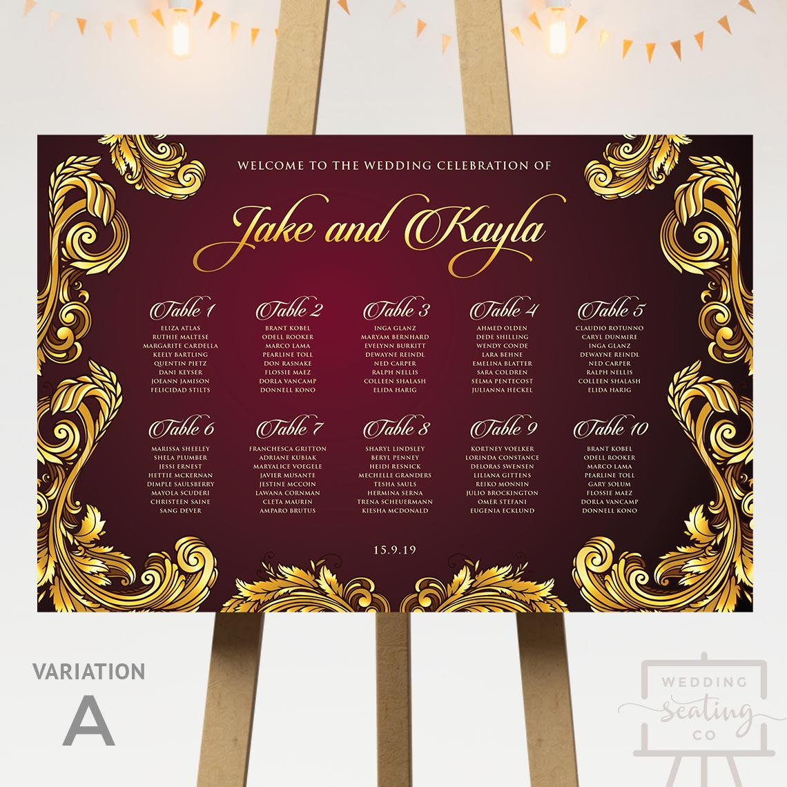 Baroque Theme Wedding Seating Chart