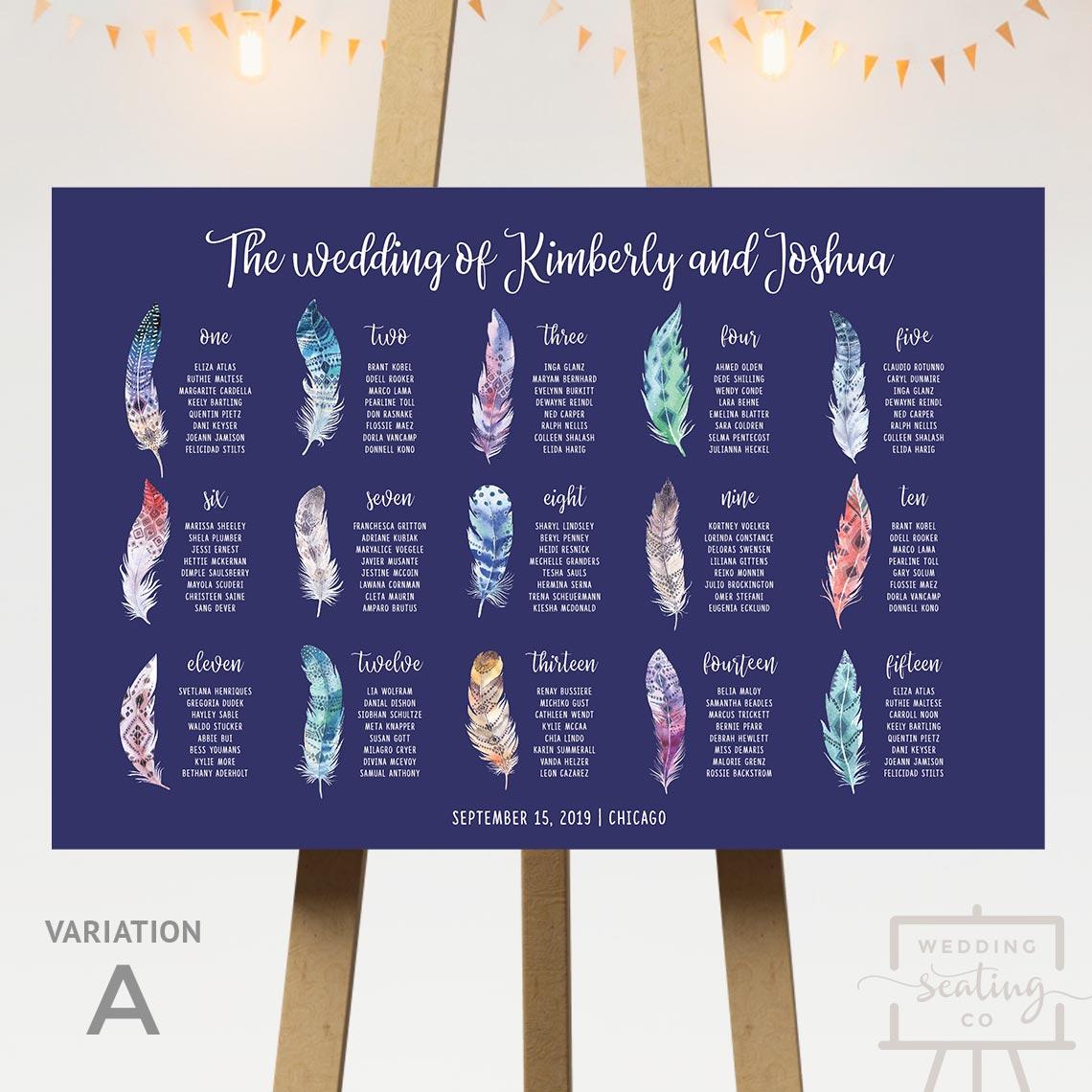 Boho Feathers Wedding Seating Chart
