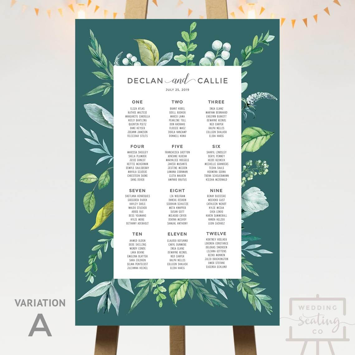 Botanical Leaves Seating Plan