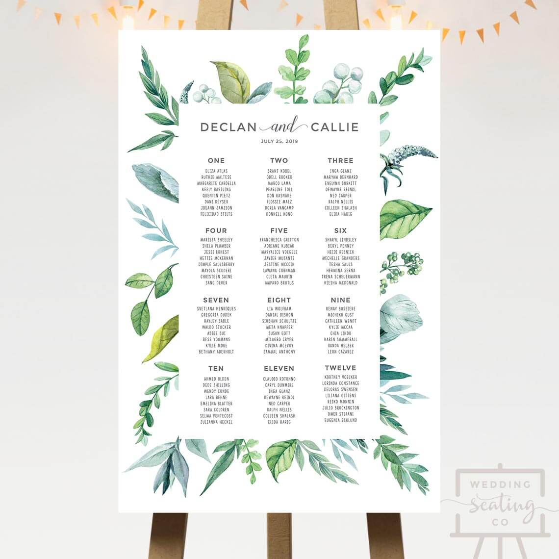 Botanical Leaves Wedding Seating Chart