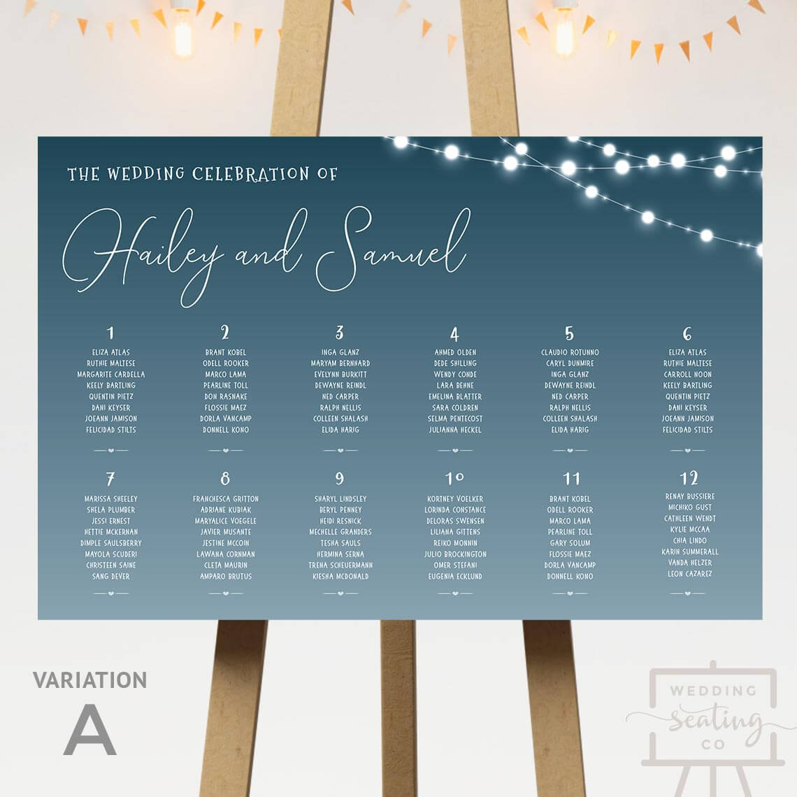 Corner Lights Wedding Seating Plan