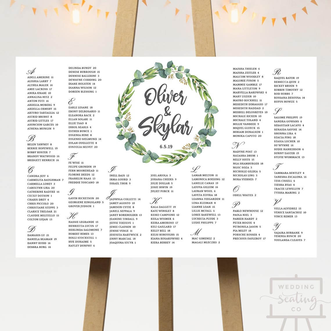 Eucalyptus Wedding Seating Chart