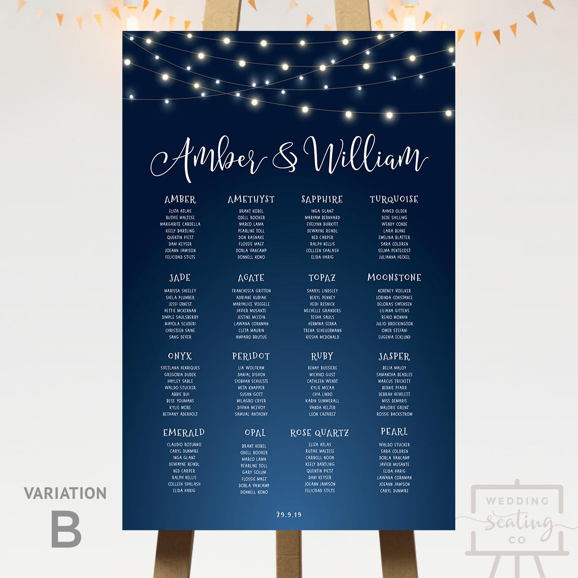 Evening Lights Night Sky Wedding Seating Chart