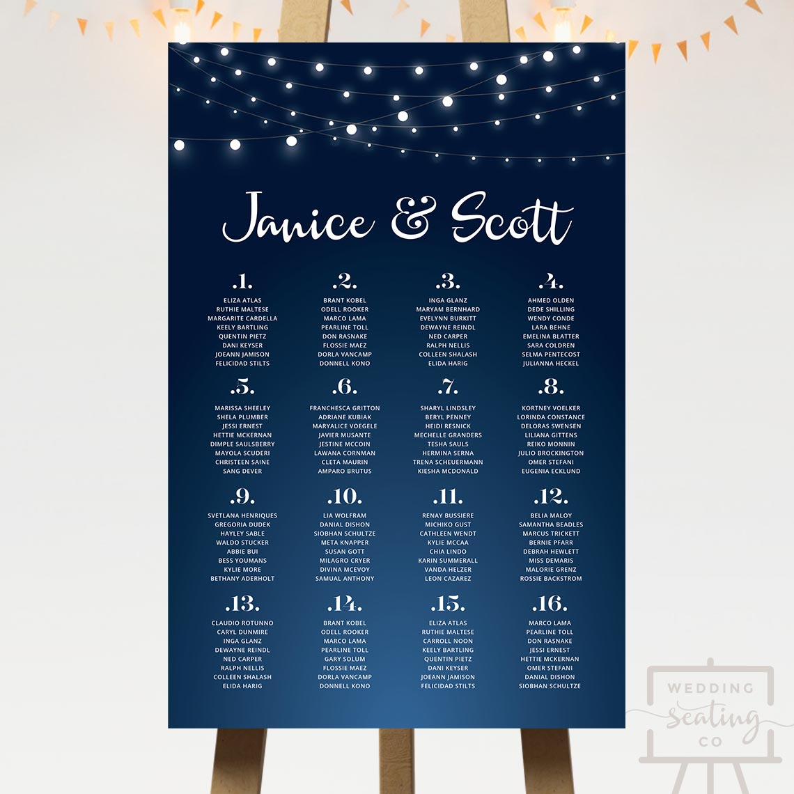 Fairy Lights Wedding Seating Chart
