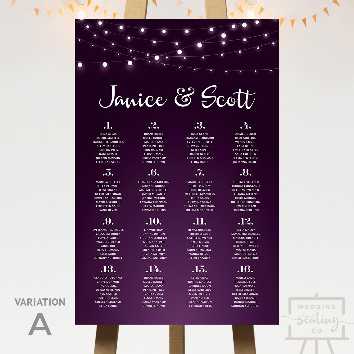 Fairy Lights Wedding Seating Plan Purple