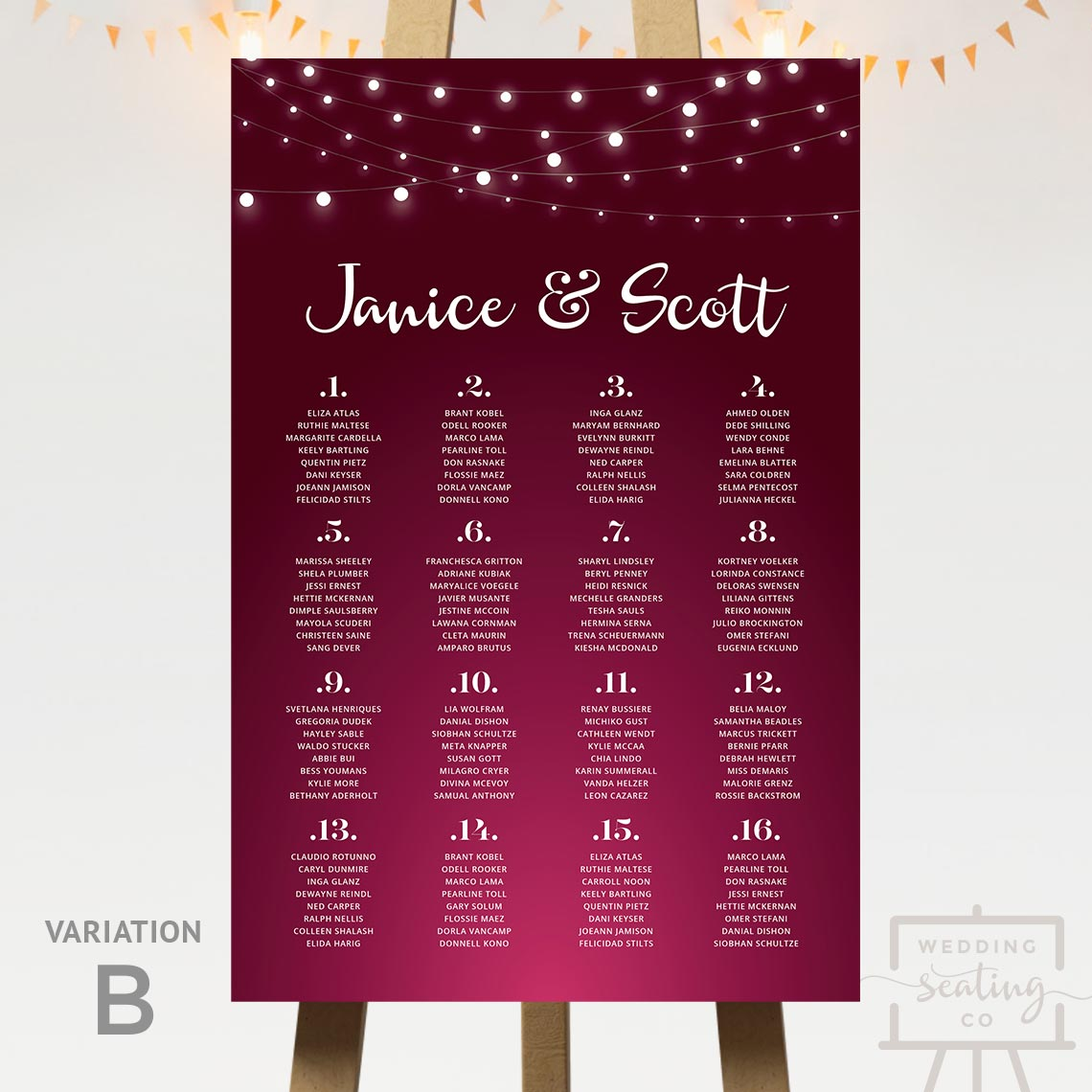 Fairy Lights Wedding Table Plan Wine