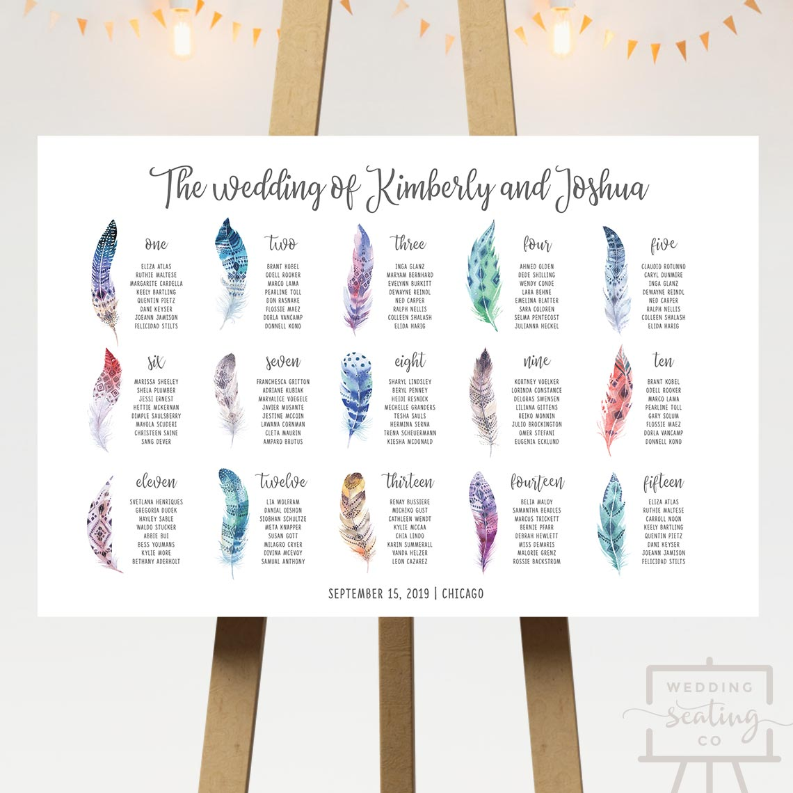 Feathers Wedding Seating Chart