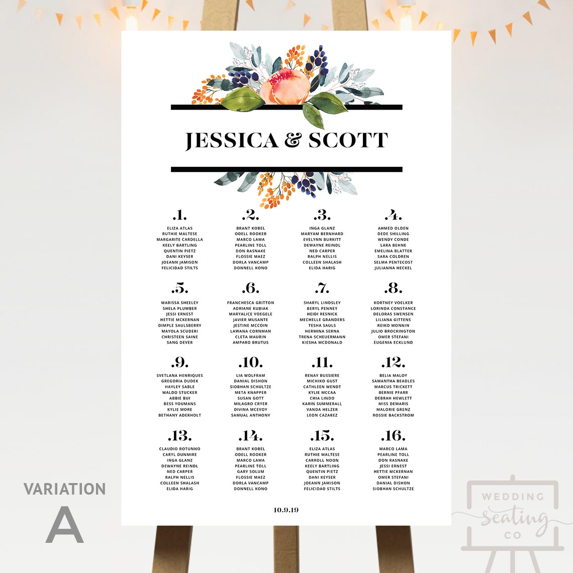 Floral Theme Seating Chart