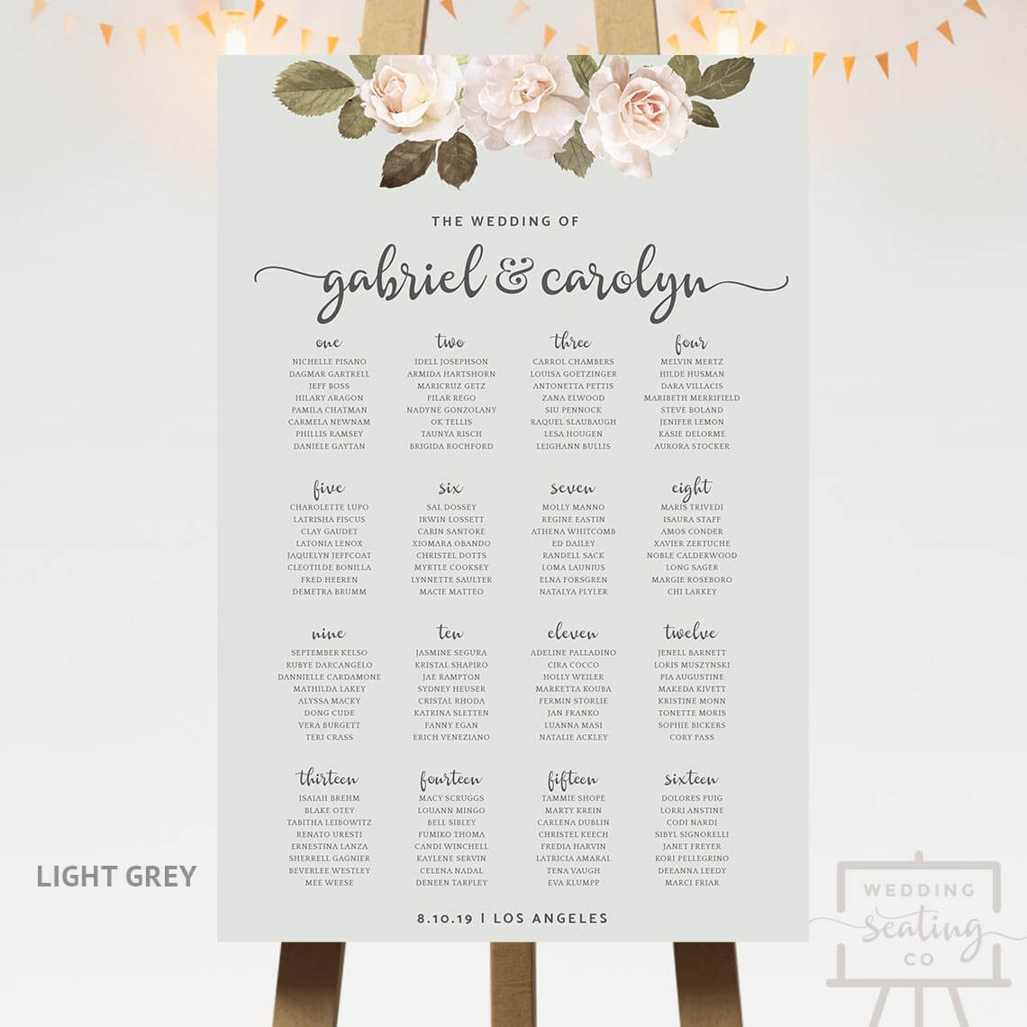 French Florals Wedding Seating Plan Light Grey