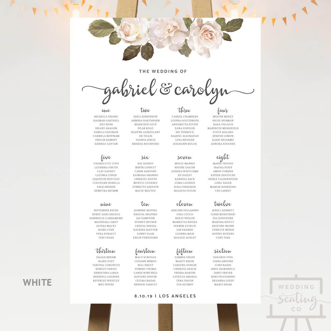 French Florals Wedding Table Plan White