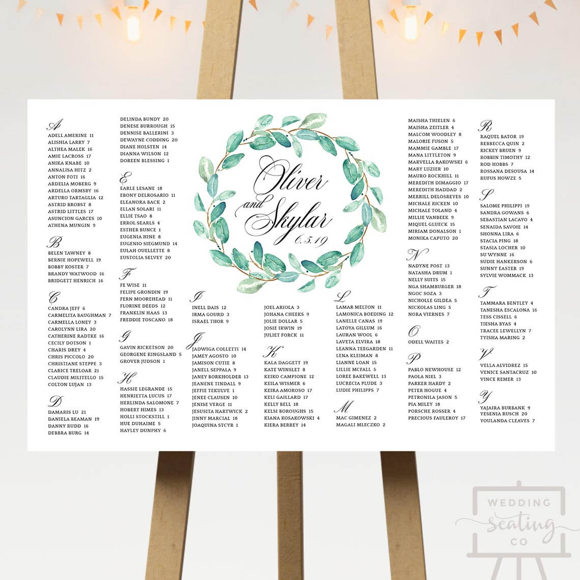 Green Wreath Wedding Seating Chart