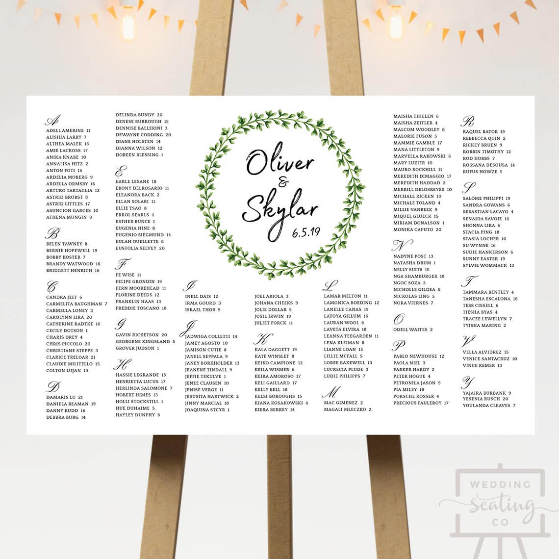 Green Wreath Wedding Table Plan
