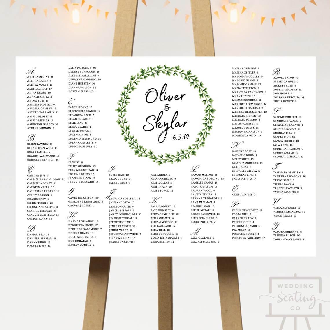 Green Wreath Wedding Table Plan