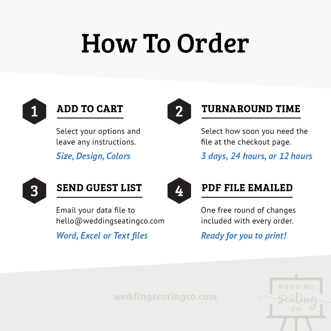How To Order Wedding Seating Chart