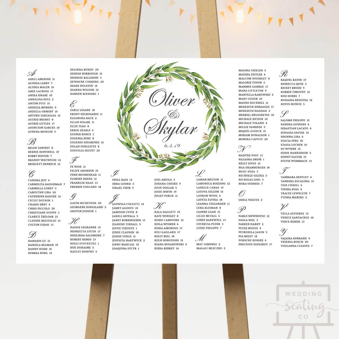 Leaves Wedding Seating Plan