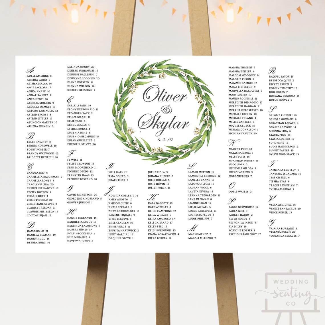 Leaves Wedding Seating Plan