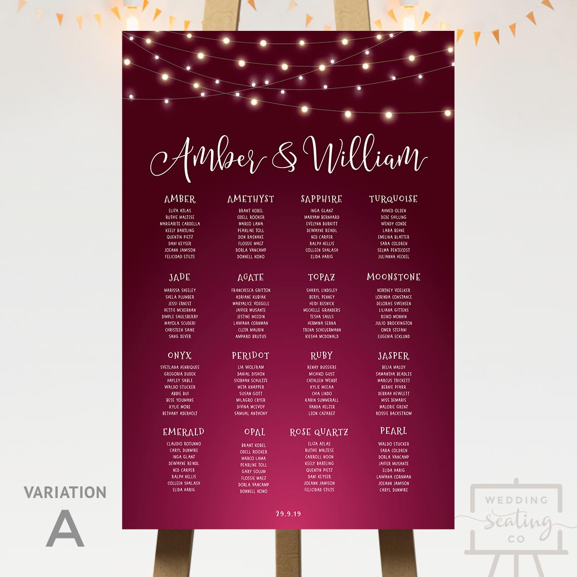 Midnight Lights Burgundy Wedding Seating Plan