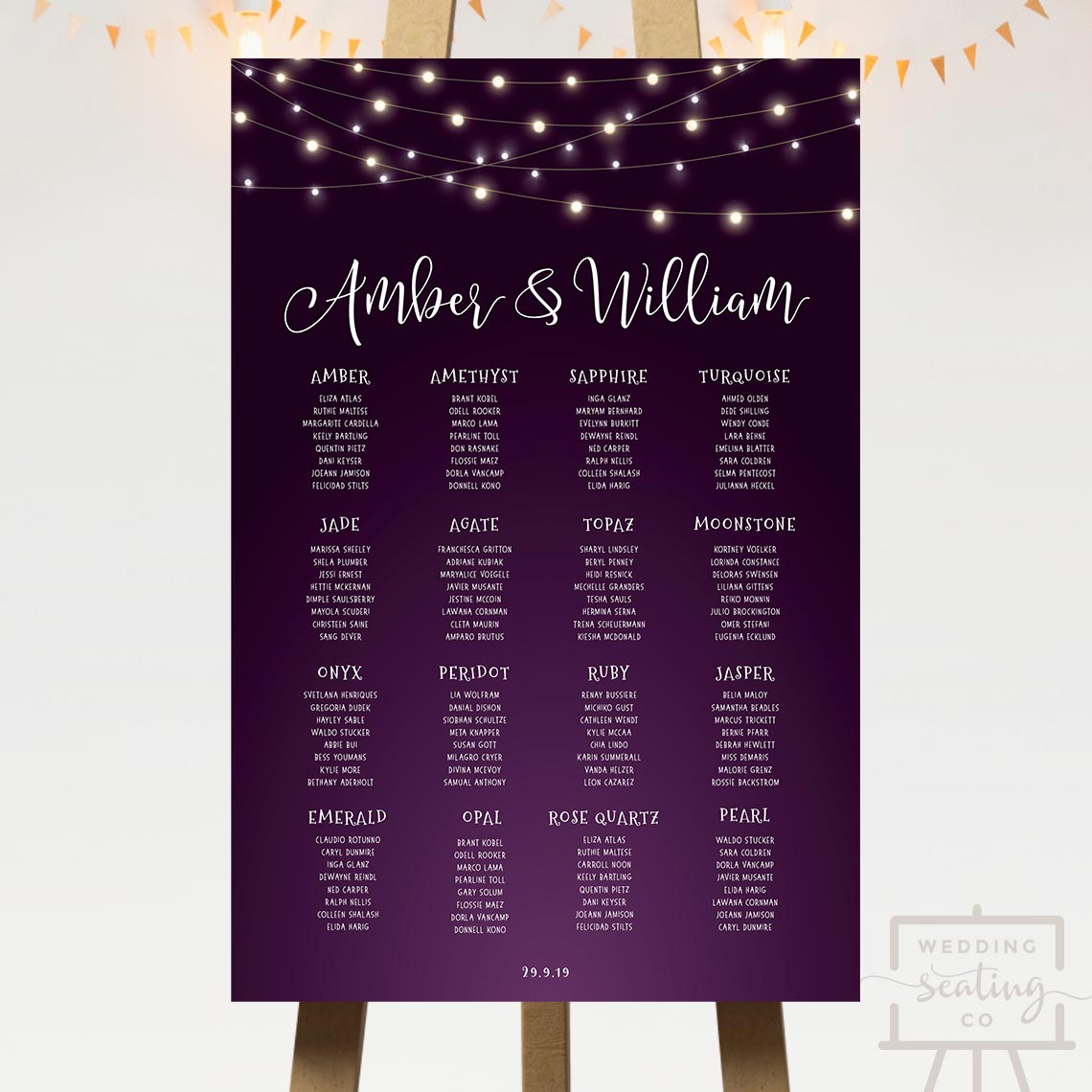 Midnight Lights Wedding Seating Chart