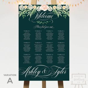 Pink Rose Floral Seating Chart