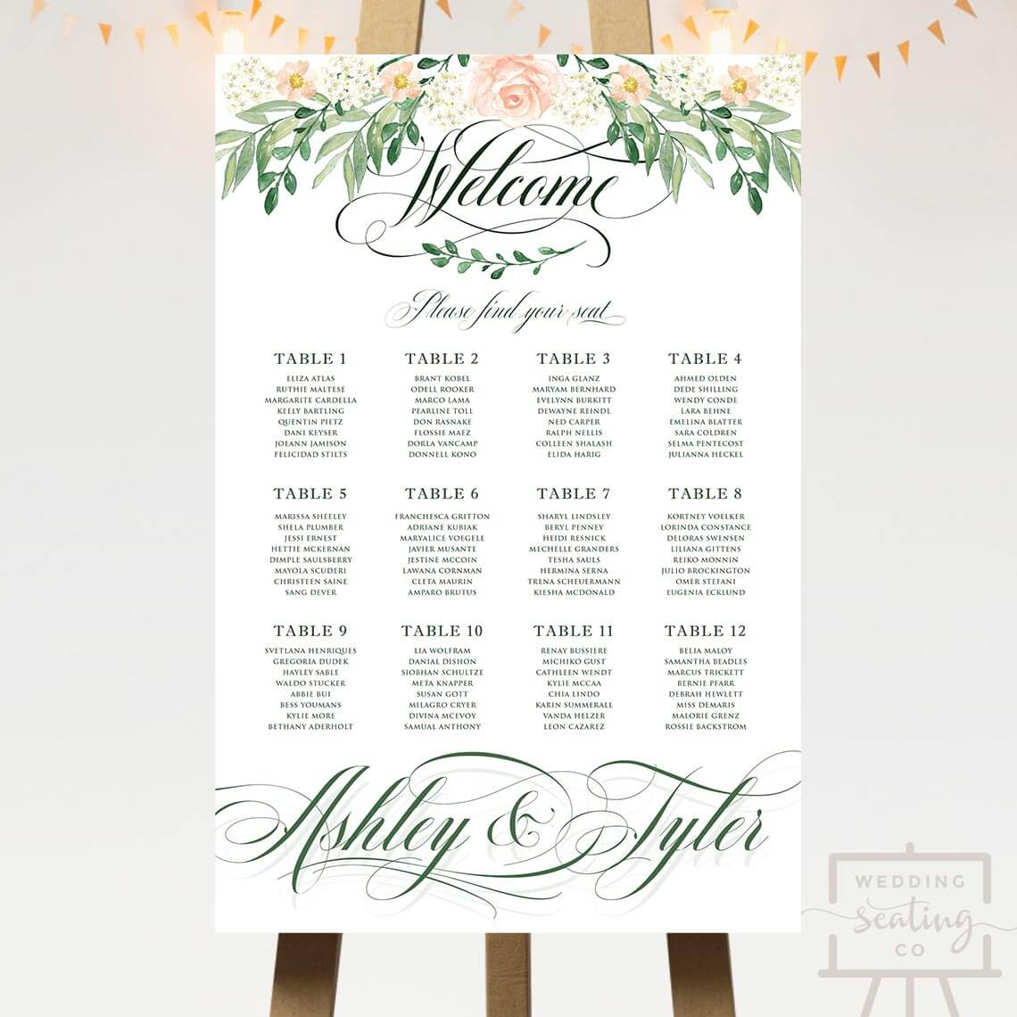 Pink Rose Floral Wedding Seating Chart