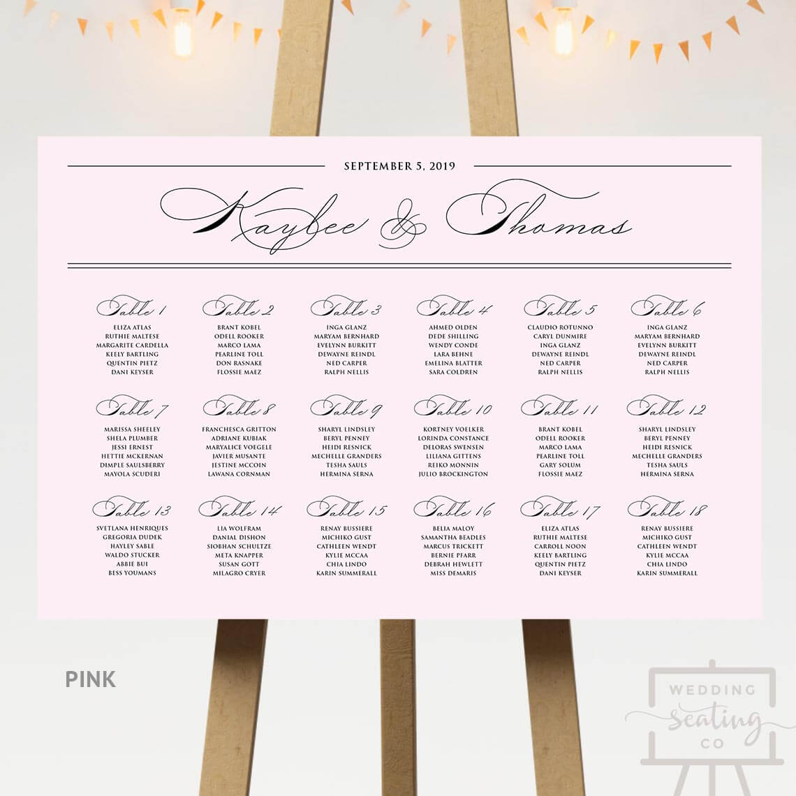 Spencerian Wedding Seating Chart Pink