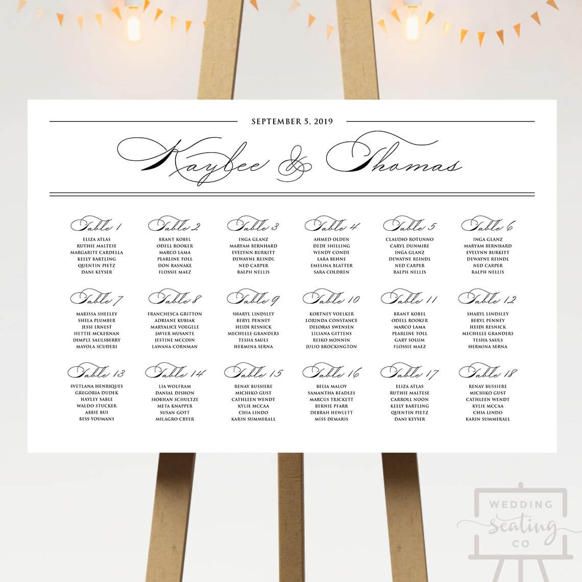 Spencerian Wedding Seating Chart