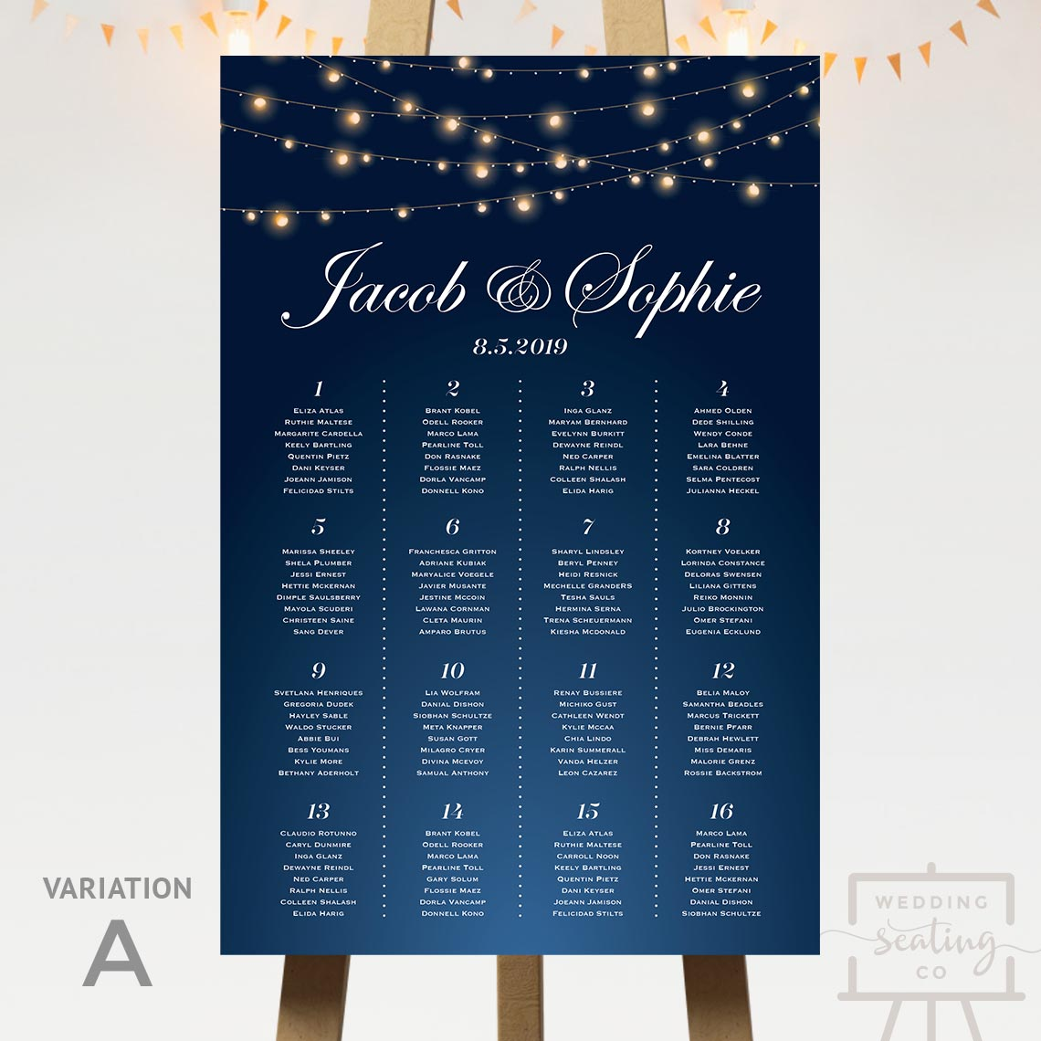 String Lights Evening Wedding Seating Chart Blue