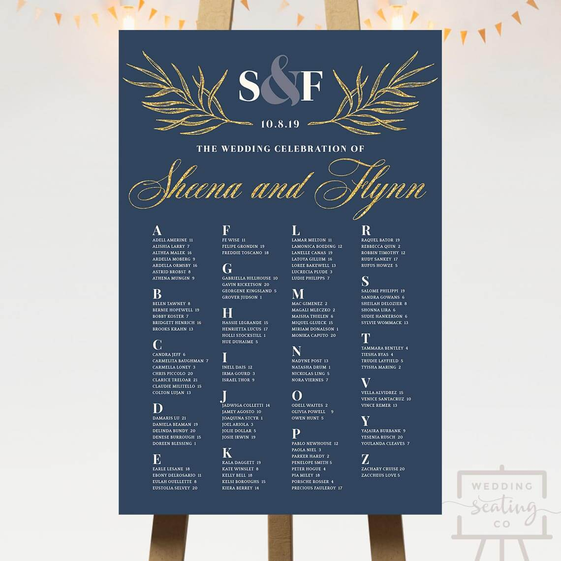 Subtle Gold Wedding Seating Chart