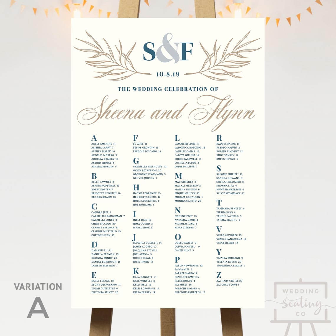 Subtle Ivory Wedding Seating Chart