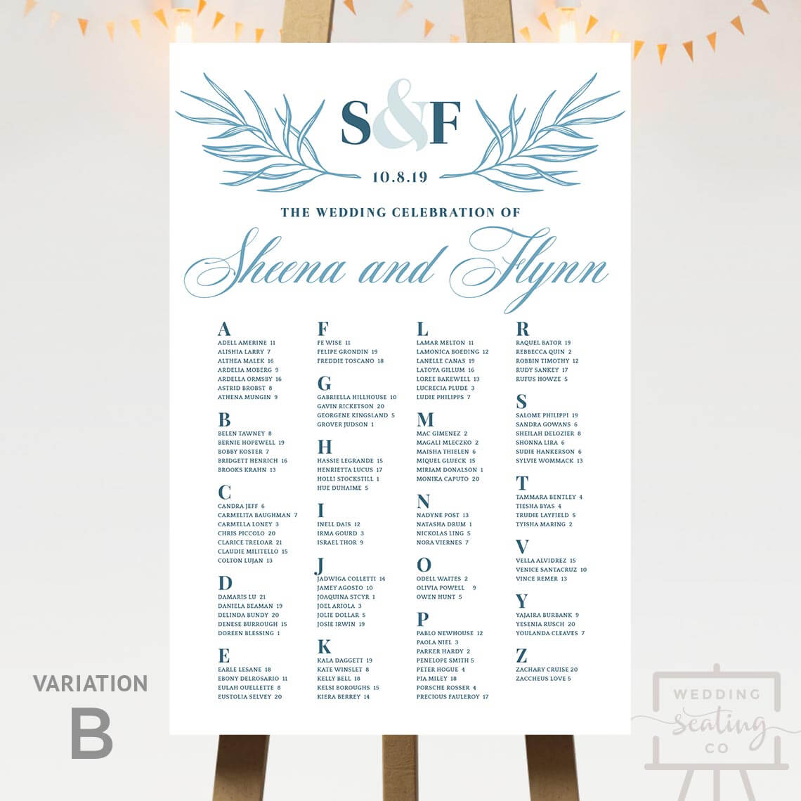 Subtle White Wedding Seating Chart