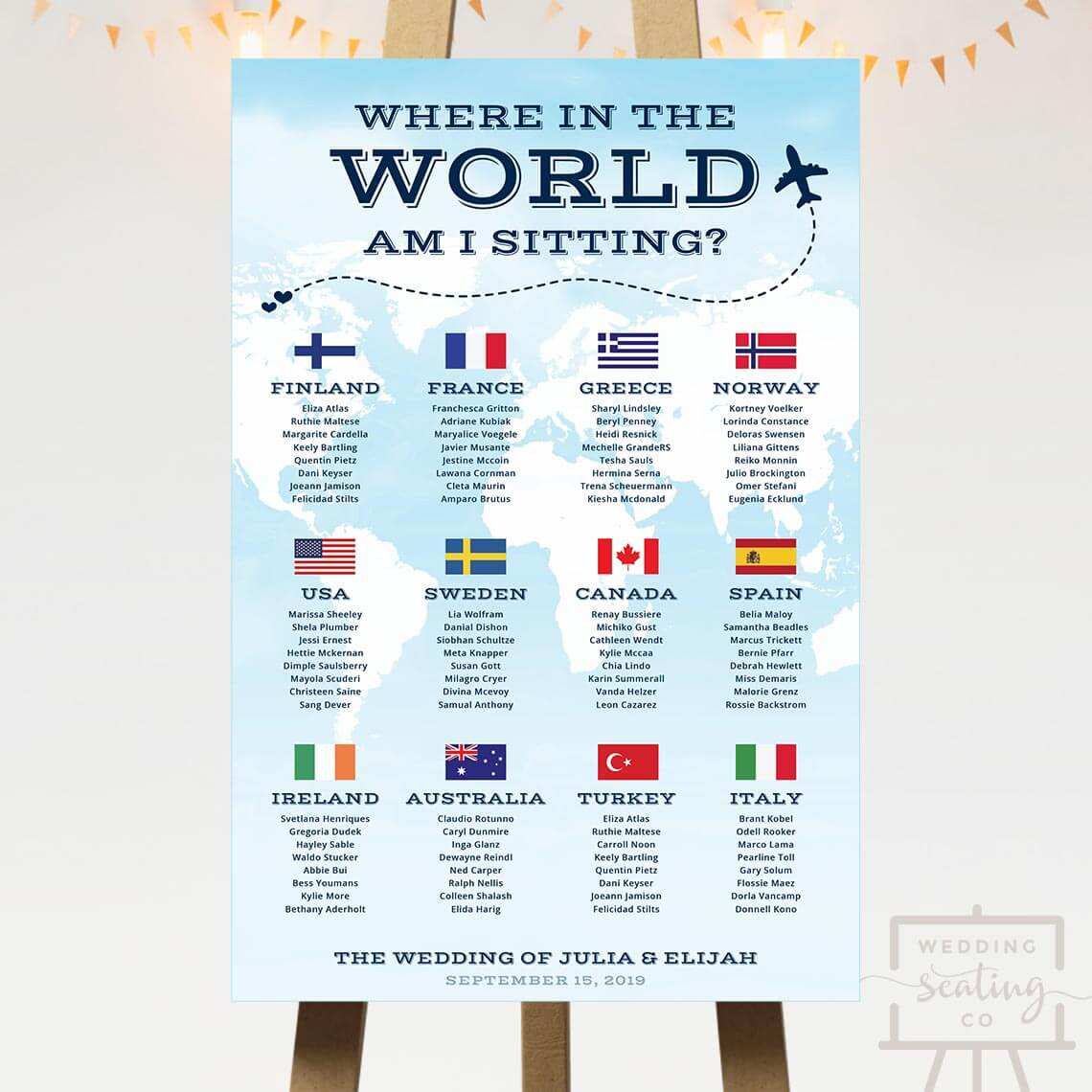 Travel Theme Wedding Seating Chart