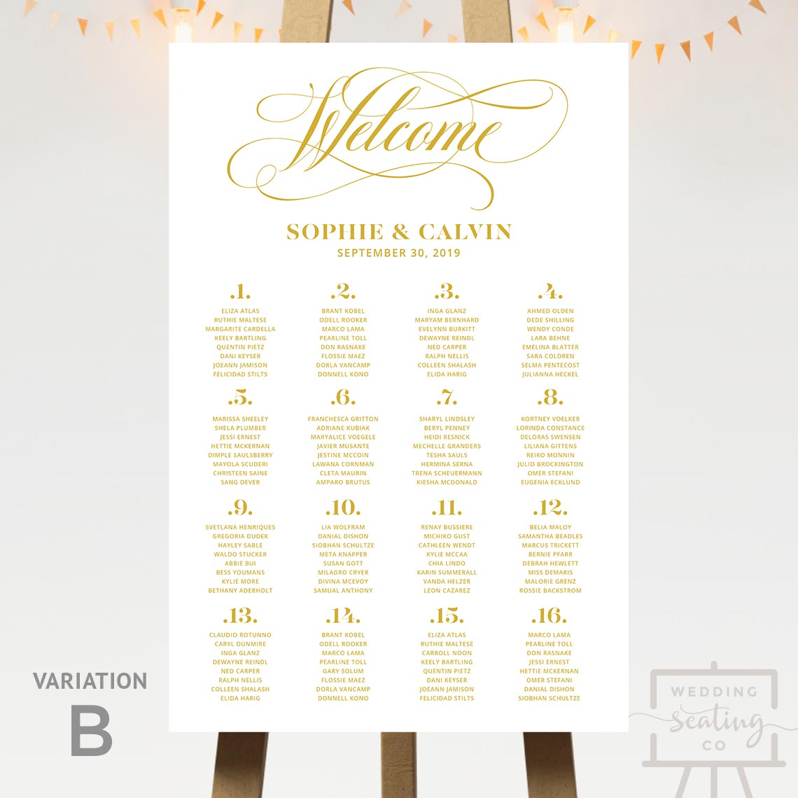 Welcome Gold Wedding Seating Chart