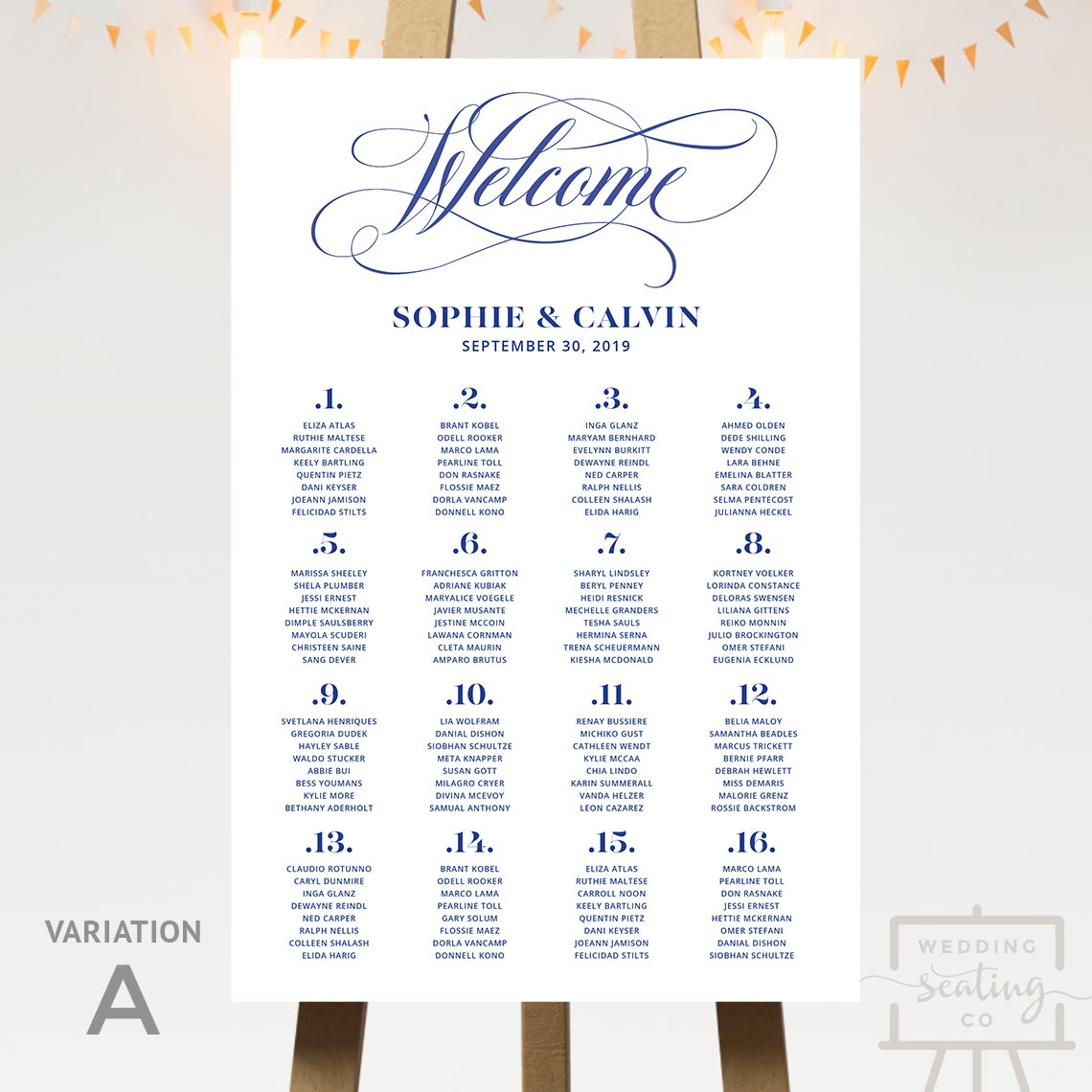 Welcome Navy Wedding Seating Chart