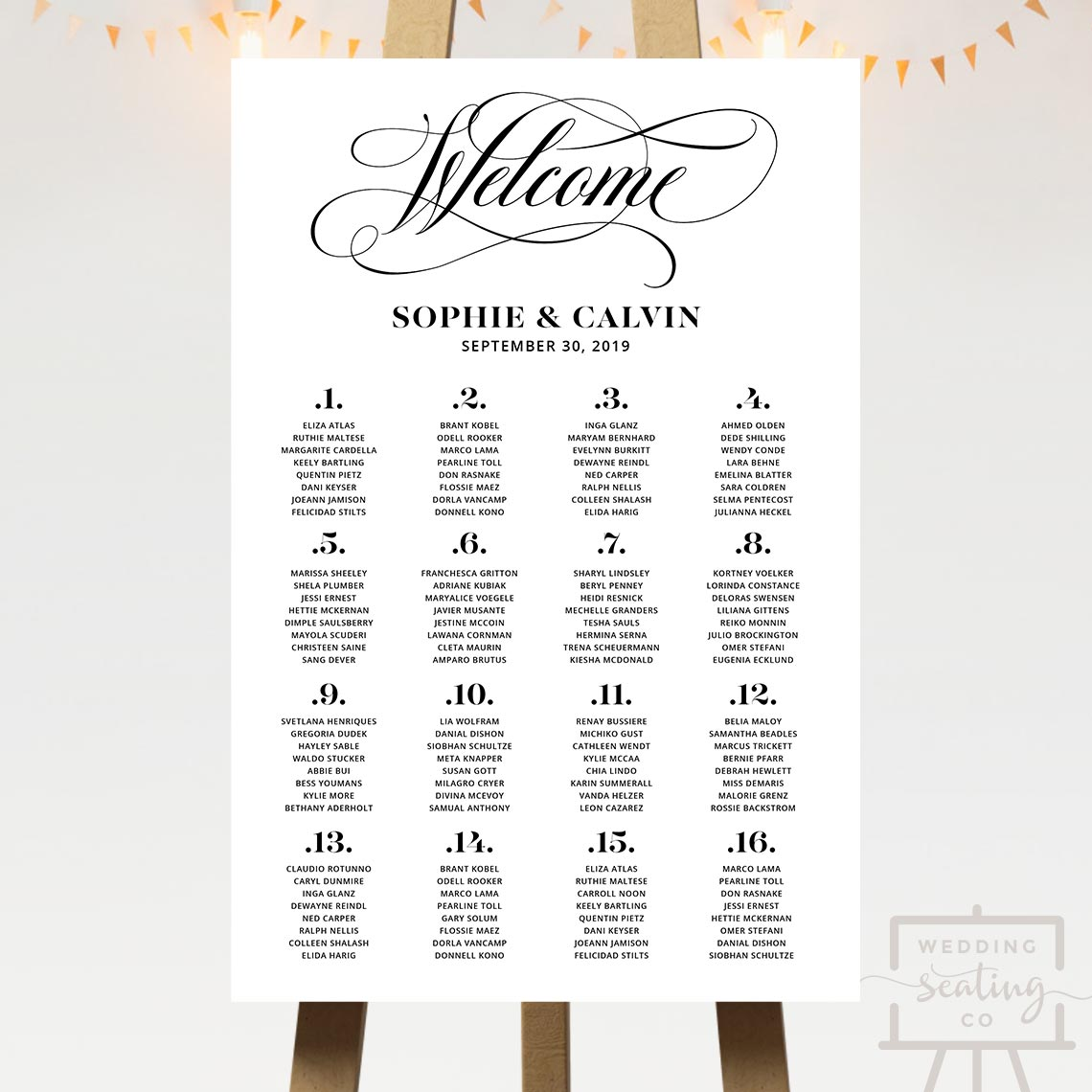 Welcome Script Wedding Seating Chart