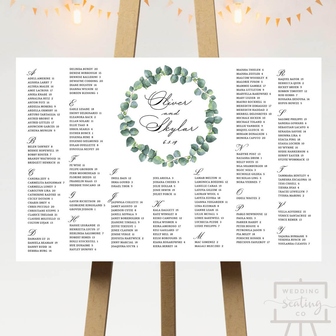 Wreath Wedding Seating Plan