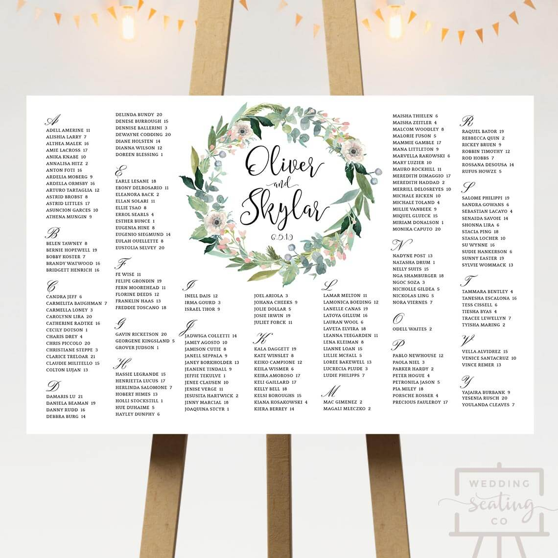 Wreath Wedding Table Plan