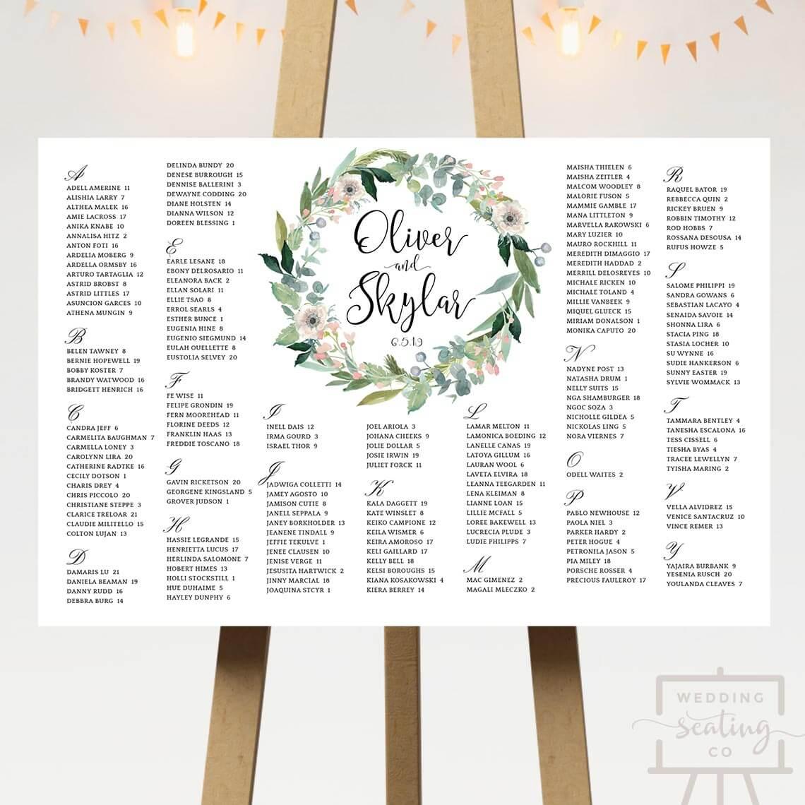Wreath Wedding Table Plan