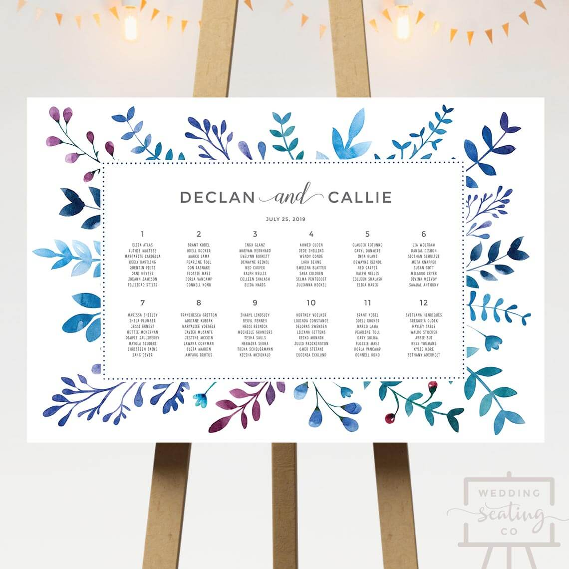 Blue Foliage Wedding Seating Chart