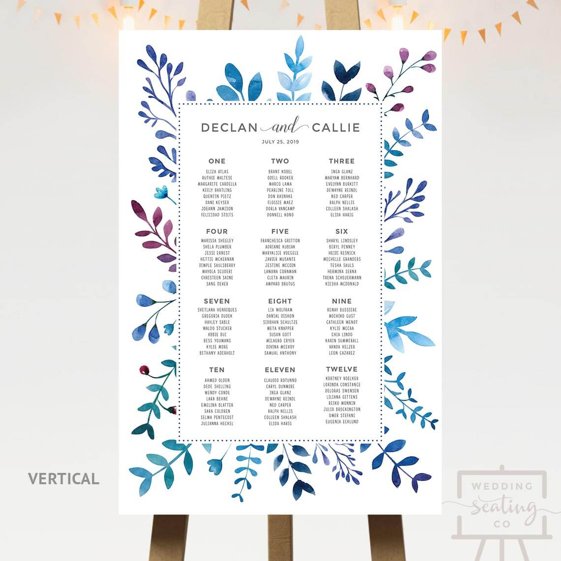 Blue Leaves Border Wedding Seating Chart