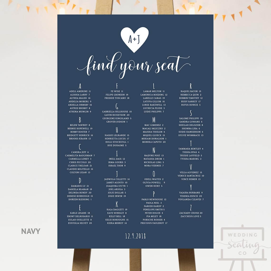 Heart Wedding Seating Chart Navy Blue