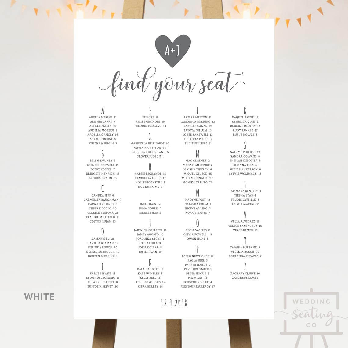 Heart Wedding Seating Chart White