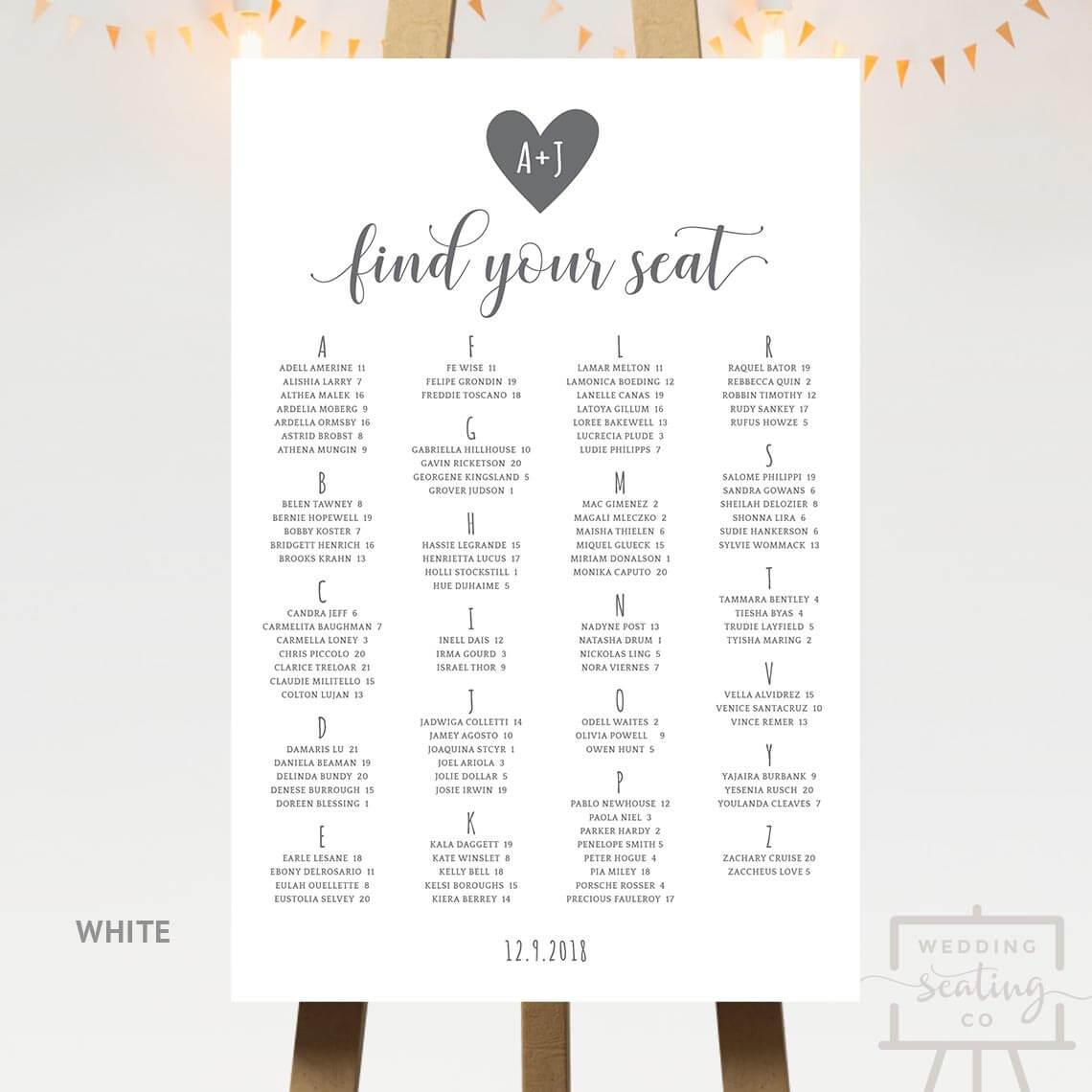 Heart Wedding Seating Chart White