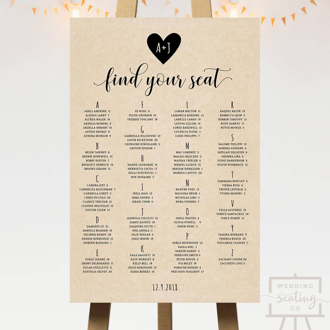 Heart Wedding Seating Chart