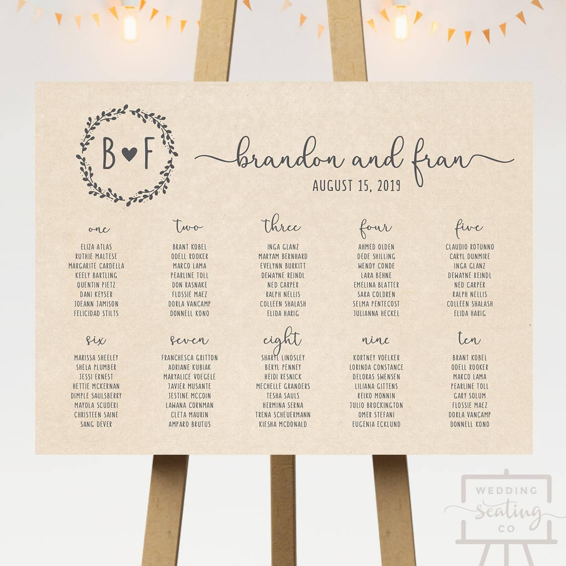 Kraft Wedding Seating Chart