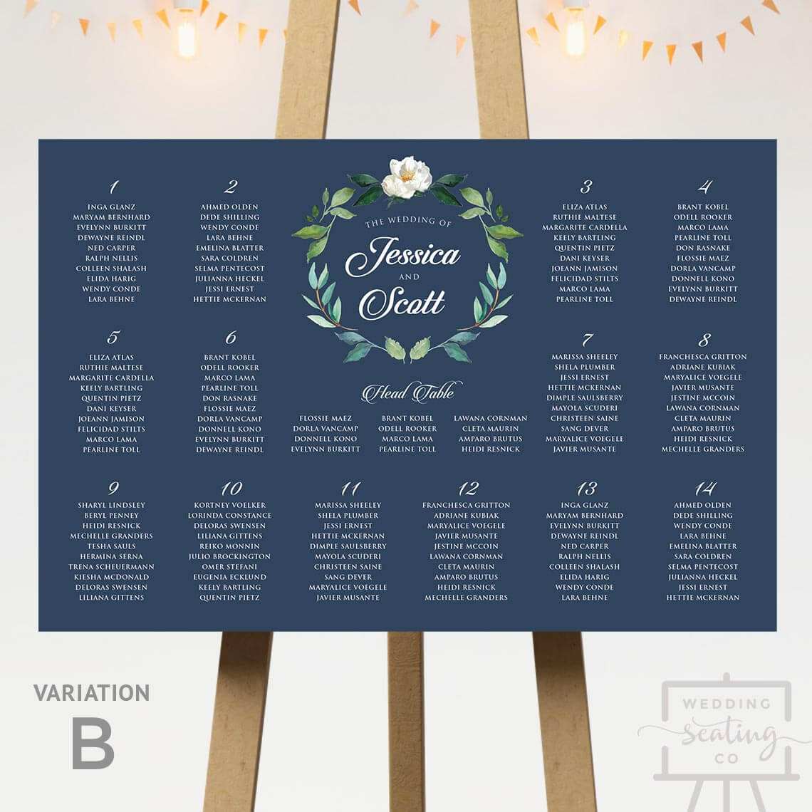 Navy Blue Wreath Seating Chart With Head Table