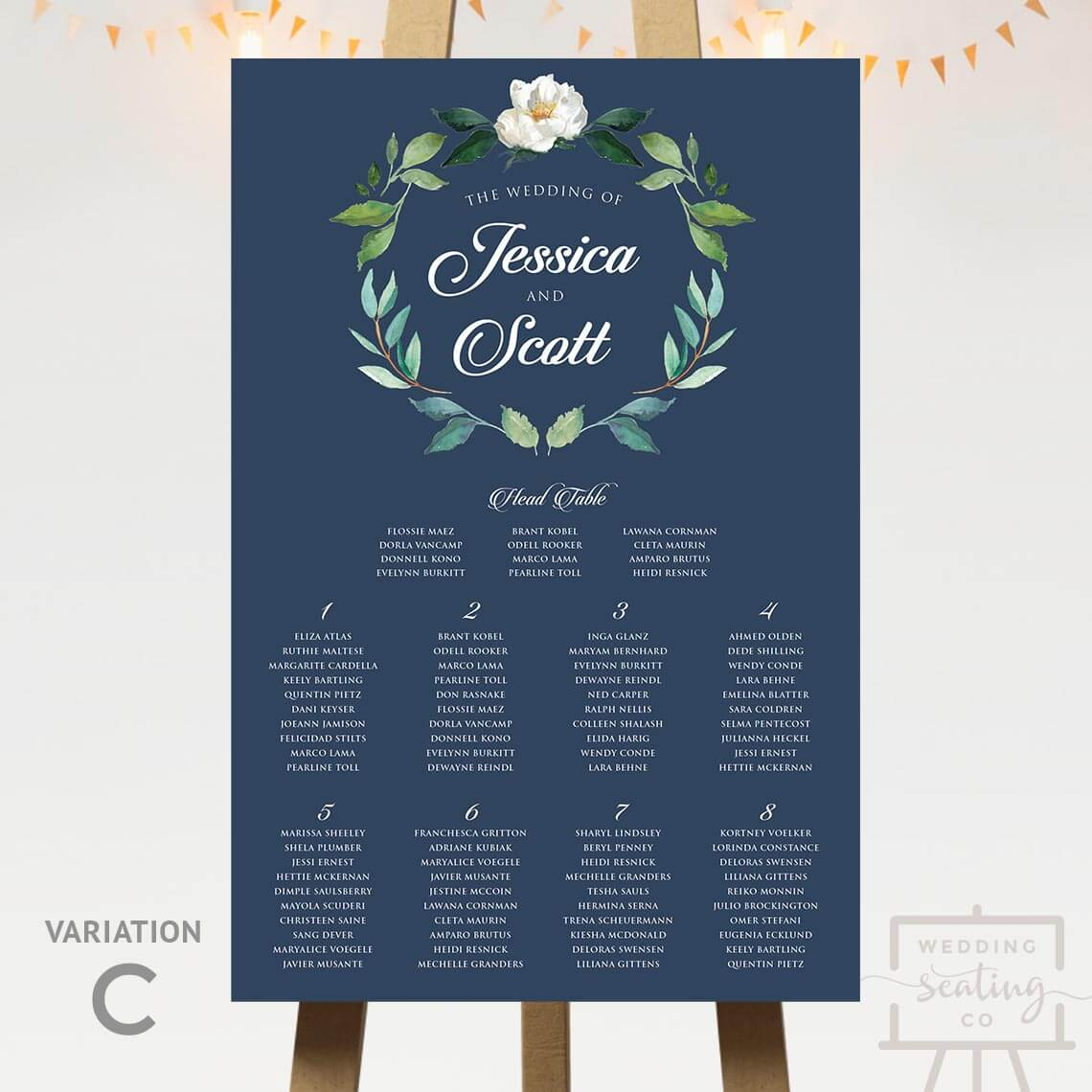Navy Blue Wreath Seating Plan With Head Table