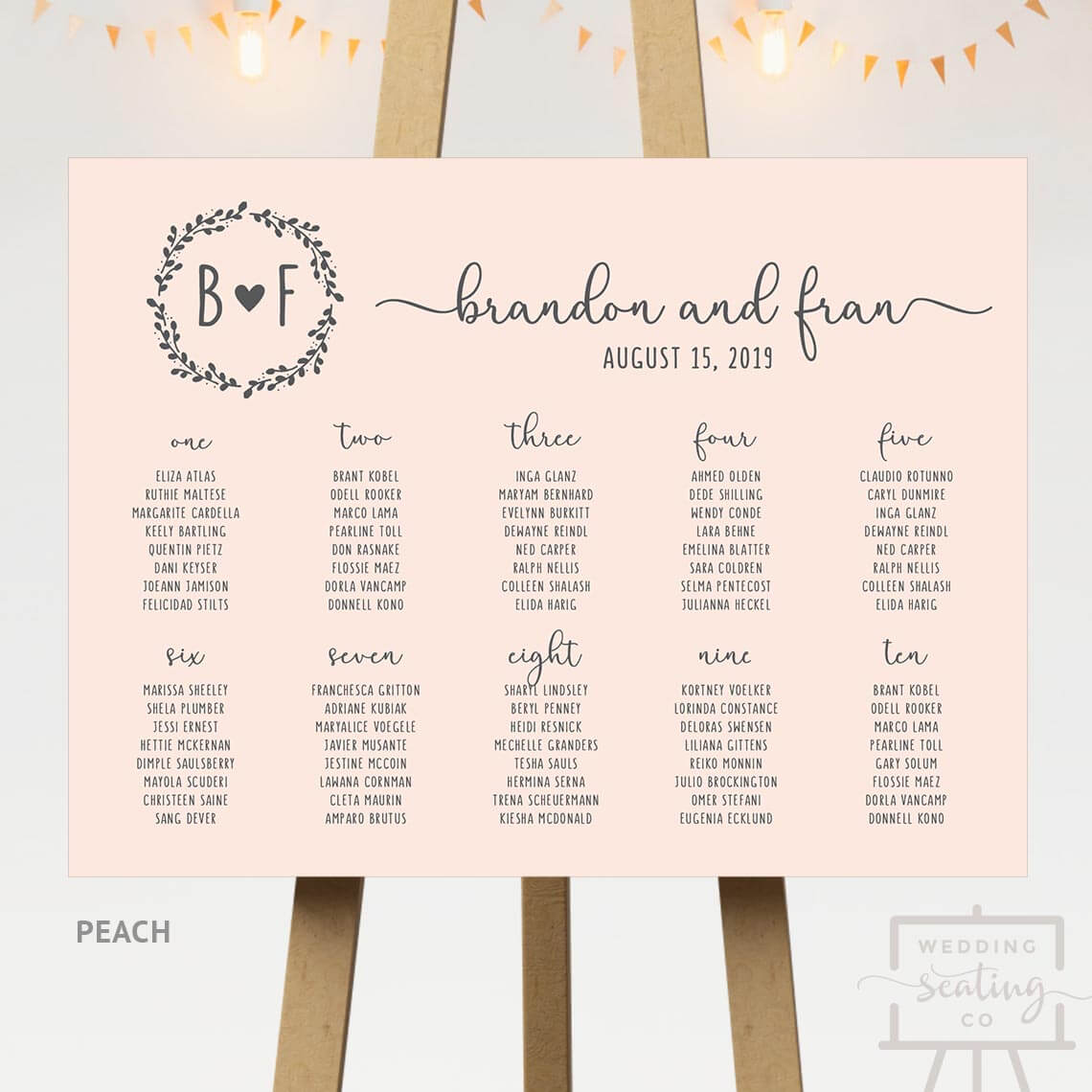 Peach Background Seating Chart