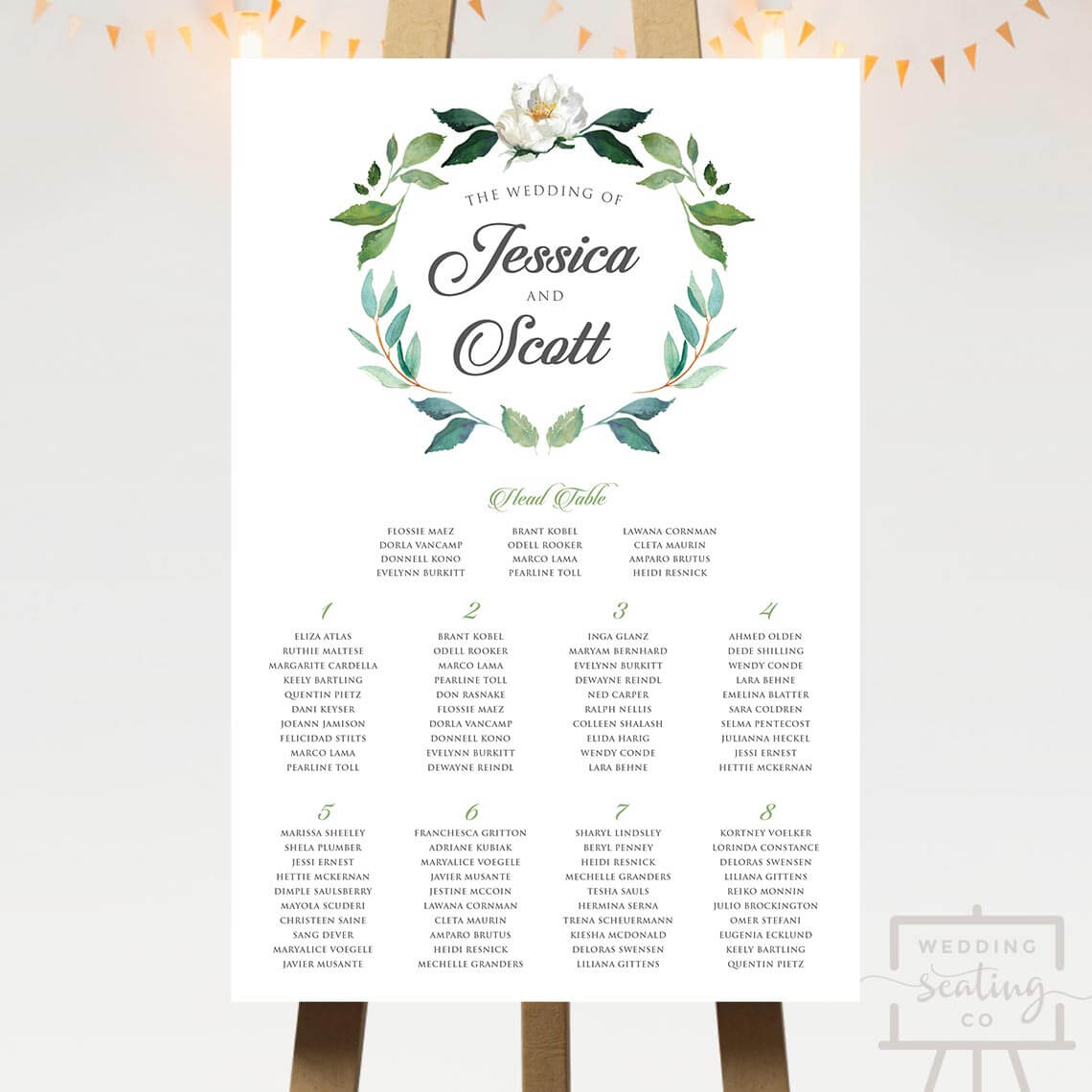 Wreath Seating Chart With Head Table