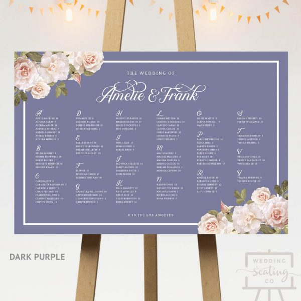 Vintage Blossoms Wedding Table Assignments